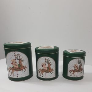 💞Vintage Holiday Tin Collectibles Green Cans